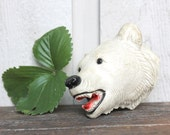 Vintage Chalkware Polar Bear Head - Mid Century Taxidermy White Bear- 1960s Retro Home Decor
