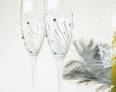 Wedding Glasses, Champagne Glasses, Toasting Glasses, HAND PAINTED, Pearls and Crystals, Denim and Silver, set of 2