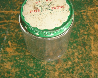 Vintage Jar with Lid ~ STAR FINE FOODS ~ Green Trim with Little Stars ~ 8 Ounces