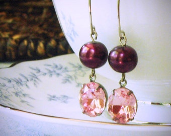 Rose Pink and Purple Pearl Dangle Earrings, Rhinestone, Swarovski, Drop Earrings, Amethyst