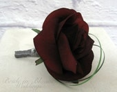Boutonniere silk black baccara rose red black groomsmen groom wedding boutonnieres