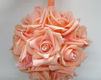Wedding flower ball Peach foam rose Flower girl pomander Kissing ball Wedding decorations Ceremony Aisle pew markers