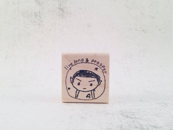 The Spock Live Long and Prosper Rubber Stamp - LLAP Trekkie Pen Pal Stamp - Sci-Fi Stamp