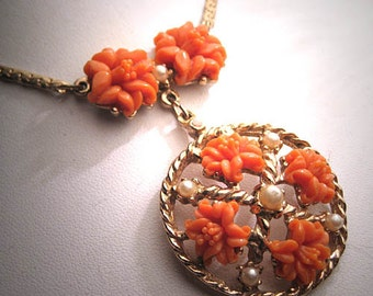 Antique Coral Pearl Necklace Vintage Victorian Revival