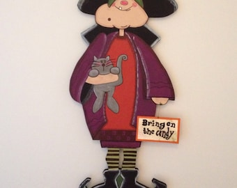 "Halloween Wood Craft Pattern Witch ""Hilda""  (45"" Tall)"