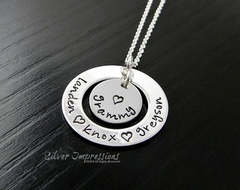 Grandmother Personalized Necklace / Grandkids Personalized Name Washer Necklace