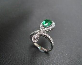 Engagement Diamond Emerald Ring in 18K White Gold, Marquise Emerald Ring, Emerald Bands, Diamond Wedding Ring, Diamond Ring, Engagement Ring