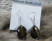 Brown tigers eye earrings jewelry semiprecious stone jewelry packaged in a colorful gift bag 2365