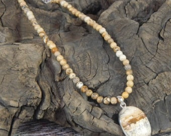 "Brown tan picture jasper pendant necklace 23"" long semiprecious stone jewelry packaged in a colorful gift bag 10502"