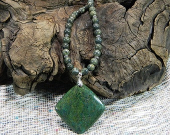 Green jasper with pyrite pendant necklace semiprecious stone jewelry packaged in a colorful gift bag 10660