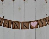 Thank You Sign - Rustic Wedding Banner  - Brown   -  Photo Prop - Wedding Sign - Wedding Decoration