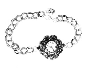 Get 15% OFF - Fashion Lady Handmade Antique Silver Polka Dotted Flower-shape Quartz Bracelet Watch - Valentine's Day SALE 2016