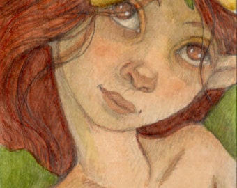 Flirty Flower Fairy....Original aceo....mixed media illustration