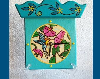Handmade Hummingbird Wall / Table Clock with bonus stand