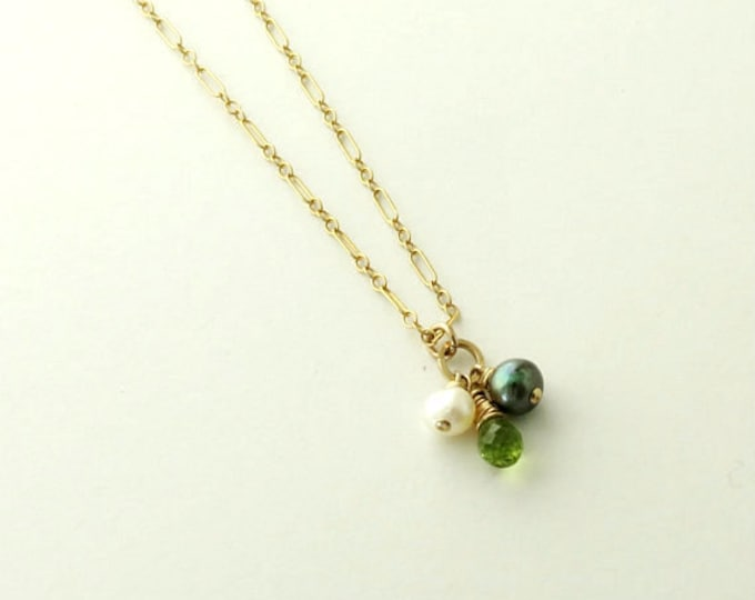 The Black Pearl, Delicate Gold Necklace, Peridot, Pearl, Layering Necklace, Wedding Jewelry, Gift for Wife, Gift Idea Girlfriend