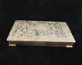 Vintage Lucite Confetti Cigarette Box 1950s Trinket Box Glam Sparkly Vanity Table Cigarette Case