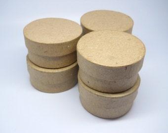 Circle Box - Favor Box - Qty 6 - 2 inch - Paper Mache - Kraft Box