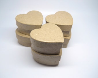 HEART Box - Favor Box - Qty 6 - 2 inch - Paper Mache - Kraft Box - Favor box - Valentines