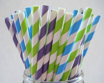MONSTERS INC - Paper Party Straws - QTY 25 -  Stripe Paper Straws - Monsters  University
