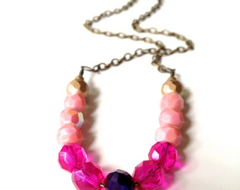 Pretty Matte Gold Pink-Coral, magenta, and violet Czech Glass Bead Necklace. Such a pretty palette for autumn, spring, or whenever you like