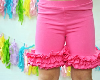 Girls Ruffle Shorts in Hot Pink