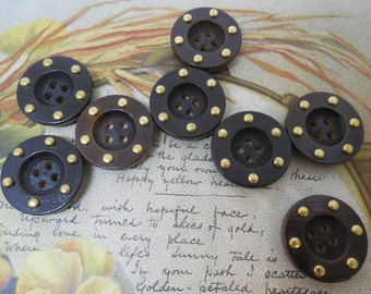 Set of 8 Wood Buttons w/ Brass Stud Accents