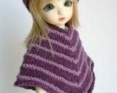 Handknit Poncho and Hat Set for YOSD BJD - Purple