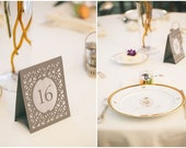BRIGE (Style A) Wedding Table Numbers / Table Number Luminaries / Table Markers / Table Tents / Luminaries / Wedding Signs