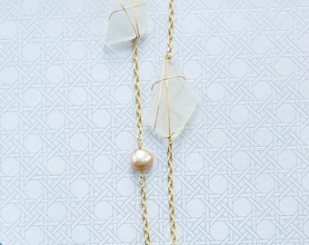 White Sea with Fresh Water Pearl Gold Necklace