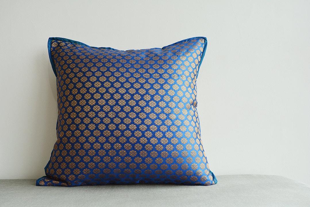 Royal blue and gold brocade pillow dark blue brocade cushion for Blue and gold pillows
