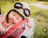 NEWBORN Baby Boy Hat,  Baby Boy Aviator Hat, Baby Boy Pilot Hat, Earflap Beanie, Cream and Brown with Goggles. Photo Props. Children, Kids.