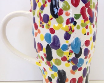 Ceramic Travel Mug with Lid - Colorful Commuter Coffee Pottery