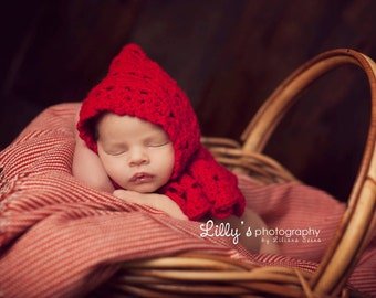 Crochet Newborn Baby Girl Photo Prop Hat - Little Red Riding Hood Capelet - Mrs. Claus Christmas Prop
