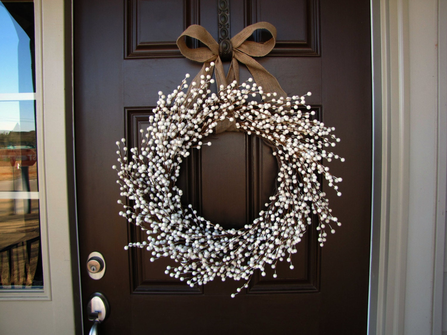 January Snowfall Winter White Berry Wreath Double Front Doors