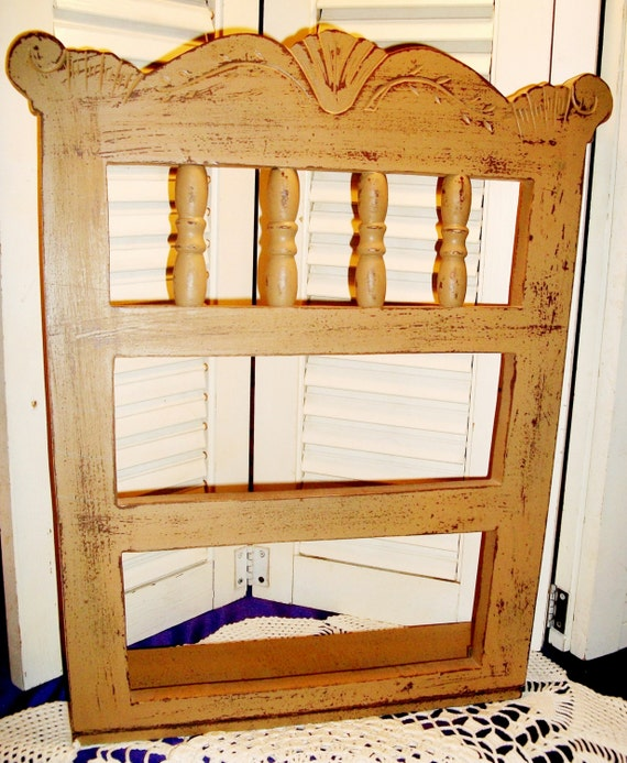 Shelves Wood Backing: WOODEN WALL SHELF Old Chair Back Made Into Display Chippy