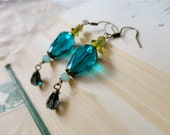 Peacock teal blue drop earrings with olive and charcoal glass bead accents, Wild Blue Yonder