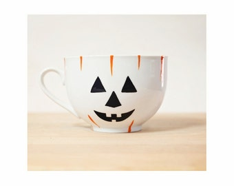 Halloween Mug Halloween Kitchen Decor Fall Decor Autumn  Hand Painted Ceramic Coffee Mug Minimal Modern