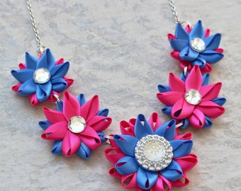 Hot Pink and Blue Necklace, Hot Pink Necklace, Royal Blue Necklace, Hot Pink Statement Necklace, Cobalt Blue Necklace, Royal Blue Statement
