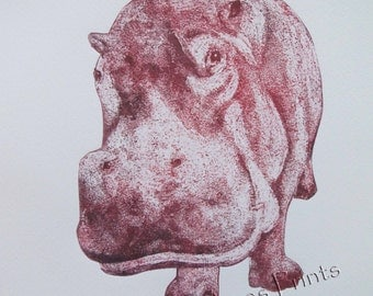 Hippo Art Print Limited Edition Hand-Pulled Collograph Print Plum