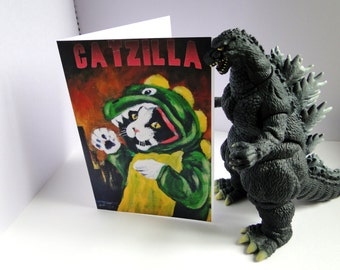 Catzilla Godzilla Art Card From my Original Oil Painting