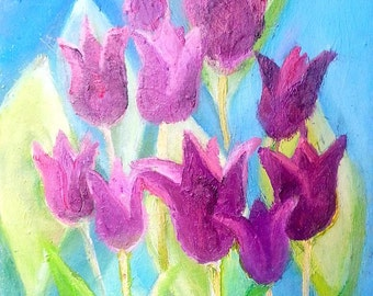 Flower oil painting- Tulips- abstract oil Painting on Canvas- 12x16 inches