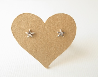 6 mm  Small Star Fish .Oxidized Sterling Silver  post stud earrings. Summer beach design .Gift under 10. Nickel free.