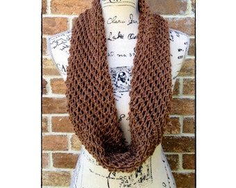 Infinity Scarf Knitting Pattern - DIY Mothers Day Gift Lacy Cowl, Wrap - Loop, Circle Scarf Handmade How to Knit