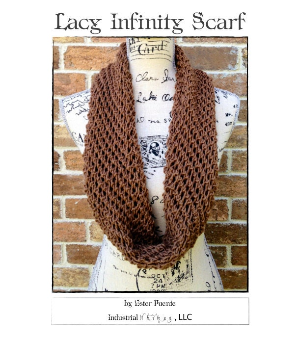 Infinity Scarf Knitting Pattern DIY Christmas Gift Lacy