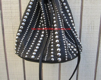 Large Bell bag draw string purse in black leather and silver studs