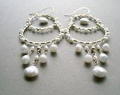 White Gemstone Chandelier Earrings, Silverite Earrings, Mystic Corundum, Silverite Chandelier Earrings, Wedding Jewelry: Ready to Ship