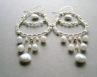 White Chandelier Earrings, Silverite Earrings, White Boho Hoops, Silverite Chandelier Earrings, Wedding Jewelry: Ready to Ship
