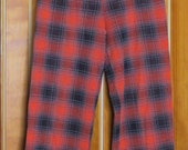1960s Orange and Black Plaid Doubleknit Pants