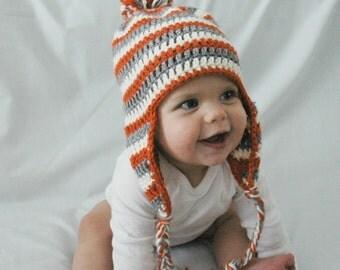Winter Baby Hat, Pumpkin Orange White and Gray Stripes, Infant Newborn, EarFlap, Pom Pom, 3-6-12 Months, Baby Boy Cap, Crochet, Knit, Beanie