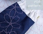 cherry blossoms sashiko pattern - - modern hand embroidery